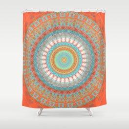 Turquoise Coral Mandala Design Shower Curtain