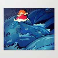 ponyo Canvas Prints featuring Ponyo by The Art of Sandy Lau