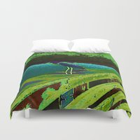 matisse Duvet Covers featuring Heron Matisse by Ellen Turner