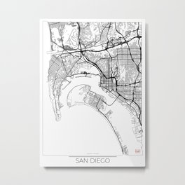 San Diego Map White Metal Print