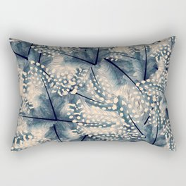 Ancona feathers - smooth beige with blue Rectangular Pillow