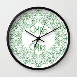 Mr & Mrs Lace - Green Wall Clock