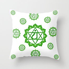 "GREEN SANSKRIT CHAKRAS  PSYCHIC WHEEL "" LOVE"" Throw Pillow"