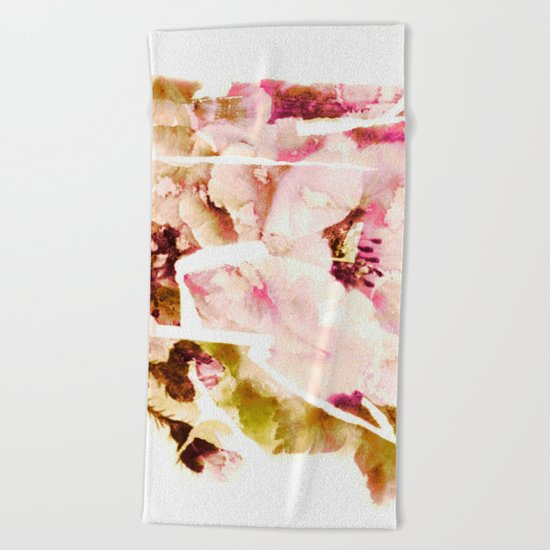 slashed floral Beach Towel