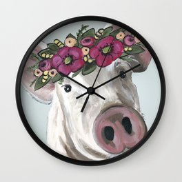 Pig with Flower Crown, Cute Pig, Farm Animal Art Wall Clock