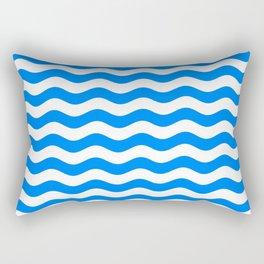 Wavy Stripes (Azure/White) Rectangular Pillow