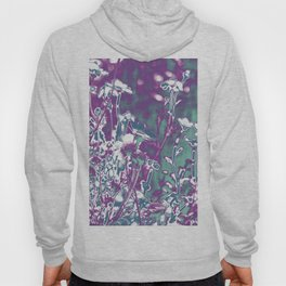 manipulated photo of daisy flowers in the field with gradient color from blue to pink Hoody