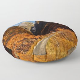 Fall in the mountains with a winding road Floor Pillow