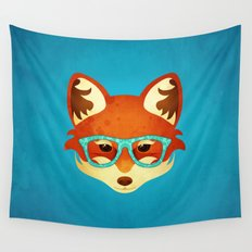 Hipster Fox: Azure Wall Tapestry