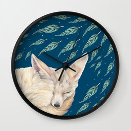Fennec Fox Feather Dreams in Turquoise Wall Clock