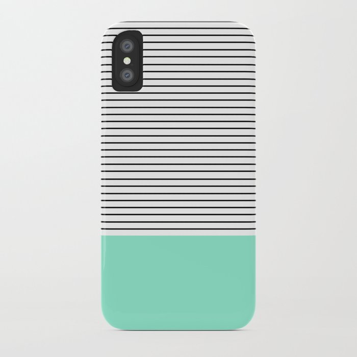 Minimal Mint Stripes iPhone Case