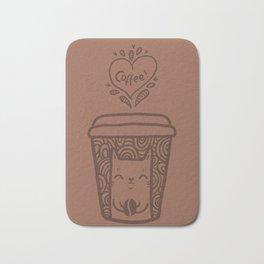 Doodle coffee cat Bath Mat