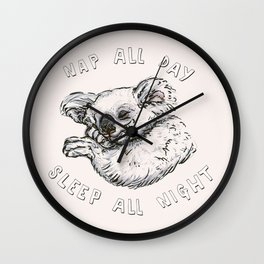 Nap All Day Sleep All Night Wall Clock