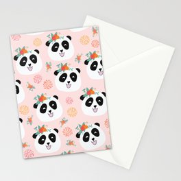 Panda bear with flowers seamless pattern Stationery Cards