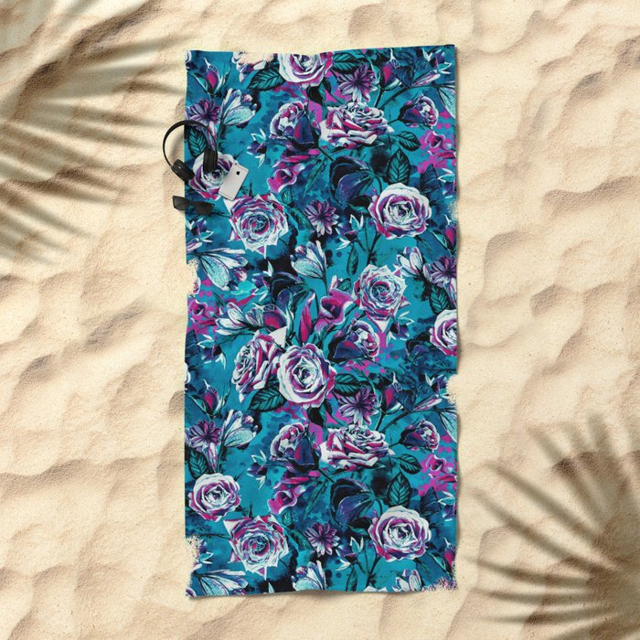 RPE FLORAL VIII BLUE Beach Towel