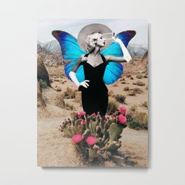 Cactus Butterfly Lady Metal Print