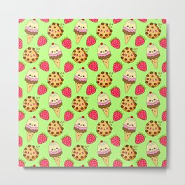 Cute funny sweet adorable happy Kawaii ice cream cones with sprinkles, chocolate chip cookies and red ripe summer strawberries cartoon fantasy lime green pattern design Metal Print