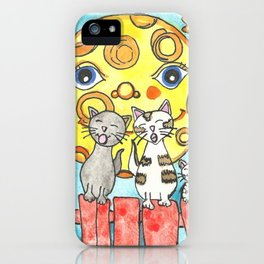 Singing Cats on the Fence iPhone Case