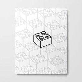 2x2 Legoblock White pattern Metal Print