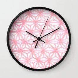Pink Small Asanoha Pattern Wall Clock