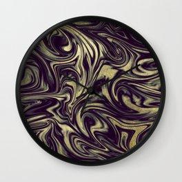 Digital Marble III - Ultra Violet +Gold Wall Clock