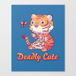 Deadly Cute Tiger // Kawaii, Big Cat, Animals Canvas Print