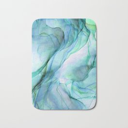 Aqua Turquoise Teal Abstract Ink Painting Bath Mat