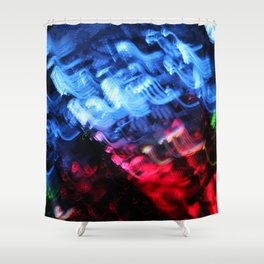 Blue & Red Abstract Shower Curtain