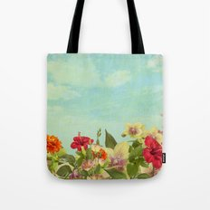 Realistic flowers sky and clouds - digital painting Tote Bag