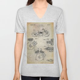 1943 Paper Indian Motor Company Drive Shaft for Motorcycles Patent Unisex V-Neck