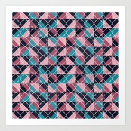 Arabesque Mosaic - pink and blue Art Print