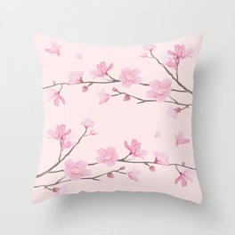 Cherry Blossom - Pink Throw Pillow