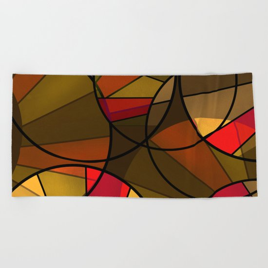 Red brown yellow black abstract pattern. Cycle . Beach Towel