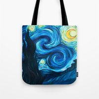 starry night Tote Bags featuring Starry Starry Night by Jade Cohen