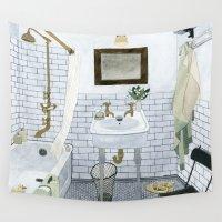bathroom Wall Tapestries featuring In The Bathroom by Yuliya