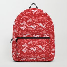 Hares in Snow Field, Winter Animals, Scarlet Red White Backpack