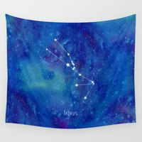 constellation Wall Tapestries featuring Constellation Taurus by ShaMiLa