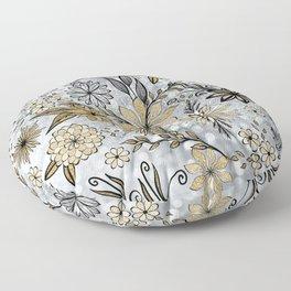 Elegant Girly Gold & Silver Glitter Floral Design Floor Pillow