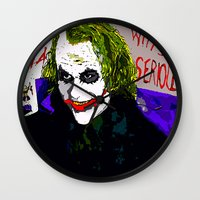 joker Wall Clocks featuring joker by Saundra Myles