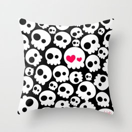A skull in love Throw Pillow