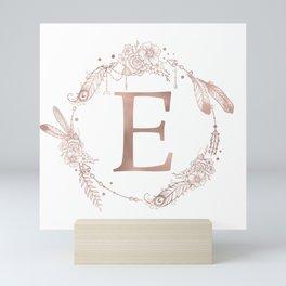 Letter E Rose Gold Pink Initial Monogram Mini Art Print