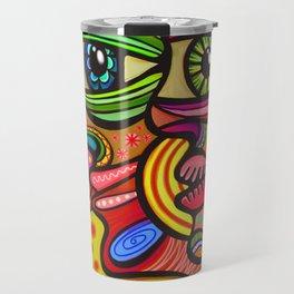 Abstract Folk Art People Painting Travel Mug