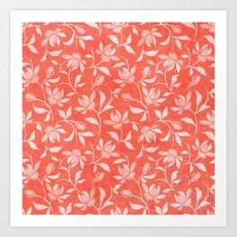 Living Coral Floral Pattern 3 Art Print