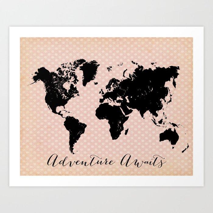 Dot World Map.Polka Dot World Map Art Print By Istriadesign Society6