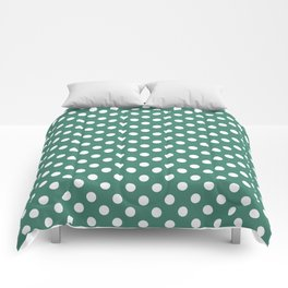Viridian Green Polka Dot Pattern Comforters