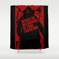 bane Shower Curtains featuring Quote Bane by Maxvtis