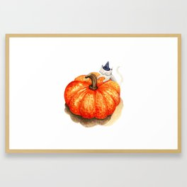 Halloween cat with pumpkin Framed Art Print