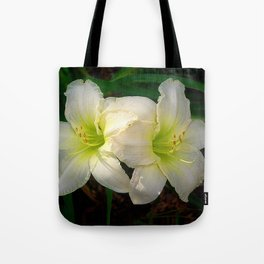 Glowing white daylily flowers - Hemerocallis Indy Seductress Tote Bag