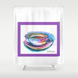 Coffee Rainbow White Shower Curtain