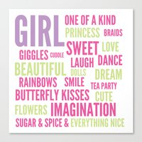 spice girls Canvas Prints featuring Girls Sugar and Spice by Josh Byers